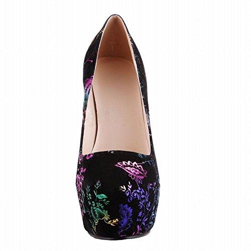 Latasa Plate-forme Florale Stiletto Talons Hauts Robe Pompes Noir