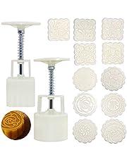 SENHAI 2 uppsättningar månkaka formpress med 11 frimärken, rund blomma och fyrkantig blomma dekoration verktyg för bakning gör-det-själv tårta kaka kaka kaka efterrätt