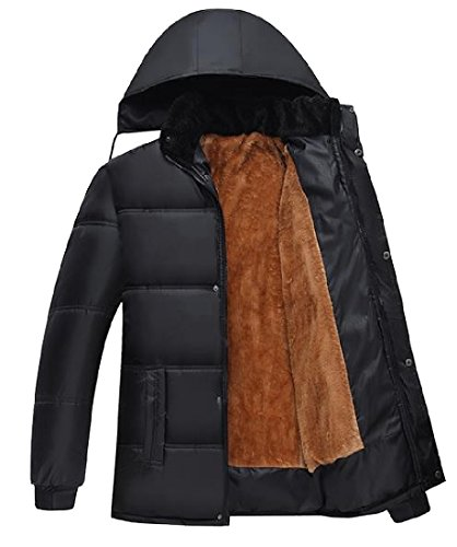 XINHEO Men Oversized Full Zip Thickening Fall Winter Parka Jacket Black