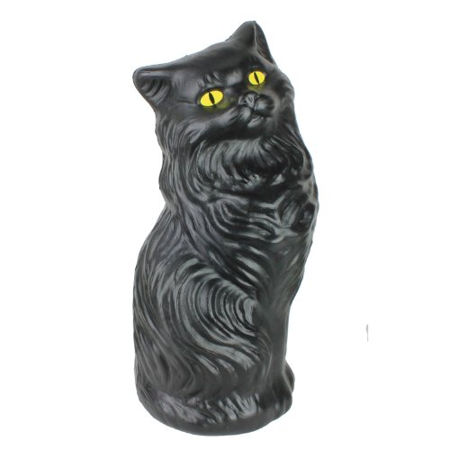 Black Cat Money Bank 17 inch Plastic Blow-Mold Decoration - Classic Retro Design by Fantazia