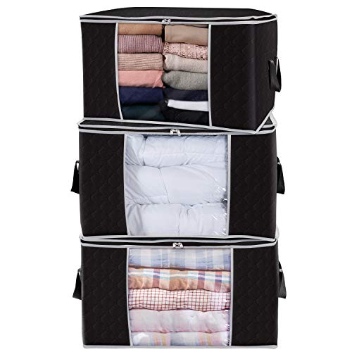Lifewit Large Capacity Clothes Storage Bag Organizer with Reinforced Handle Thick Fabric for Comforters, Blankets…