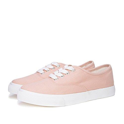 Señora Redonda Cabeza de Cute de 38 Zapatos Zapatos Zapatos Rosado Beauty Sweet Deep Ribbon White Front Primavera de DHG Zapatos Planos 0BO6qn