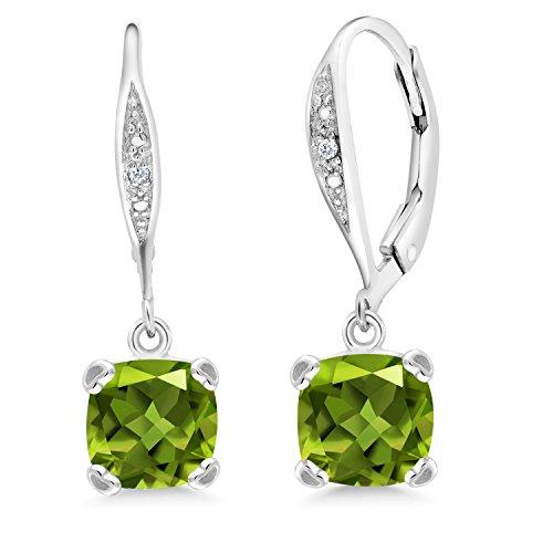 Gem Stone King Sterling Silver Green Peridot and White Diamond Earrings 3.41 cttw Cushion Cut 7MM