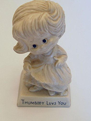 Vintage 1973 Russ Berrie Thumbody Luvs You Statue Collectible (Russ Berrie Girl)