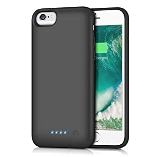 Gixvdcu Battery Case for iPhone 6/6s/7/8,6000mAh Portable Charger Case Protective External Battery Pack Rechargeable Charging Cover for iPhone 6/6s/7/8 (4.7inch)- Black