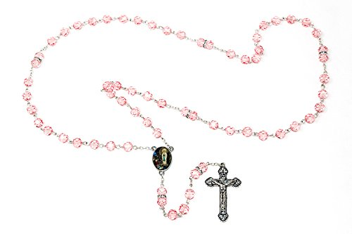 Rose Crystal Lourdes Apparition Rosary Beads with Swarovski -