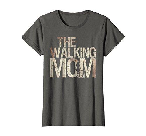 Womens Walking Mom Shirt Zombie Woman And Kid Mother's Day Tee Medium Asphalt