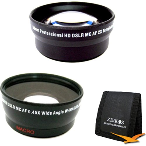58 mm .45x Wide Angle Lens w/ Macro & Telephoto Lens Converter Kit Card Memory Card Wallet for Nikon Sony Canon DLSR Cameras Coolpix Rebel Powershot Alpha
