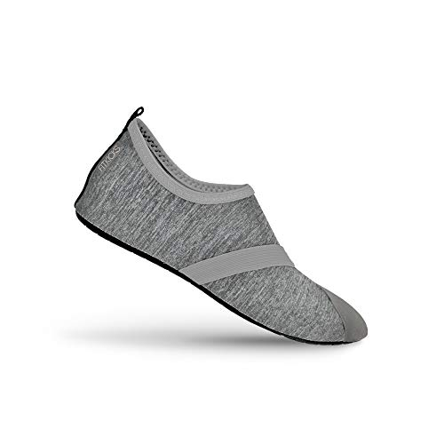 FitKicks Live Well Women's Foldable Active Lifestyle Minimalist Footwear Barefoot Yoga Water Everyday Shoes Grey (Grace Black Footwear)