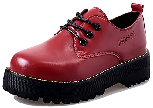 IDIFU Womens Fashion Lace Up Low Chunky Heel Oxfords Platform Closed Round Toe Sneakers Red