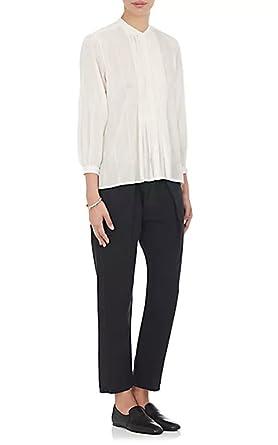 5f2142eb0d19 Nili Lotan Estelle Cotton Voile Pleated Button Down Ivory Shirt Blouse Top  - Large