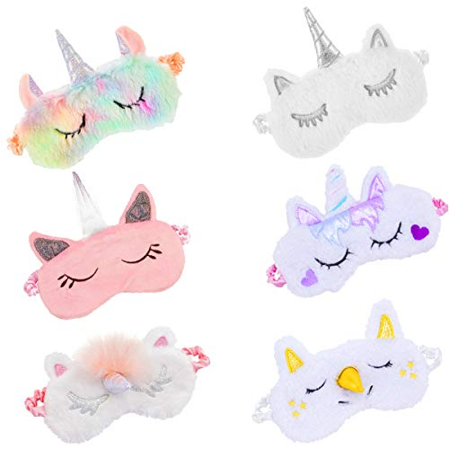 Biubee 6 Pack Soft Plush Unicorn Sleeping Mask- Cute Unicorn Horn Blindfold Eye Cover for Women Girls Kids Travel Nap Night Sleeping
