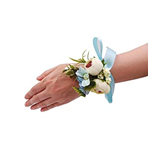 Abbie Home Wedding Wrist Corsage Brooch Boutonniere Set Party Prom Hand Flower Decor (8003-WB) 3