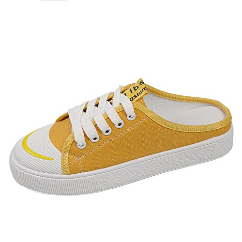 excellent.c Summer Korean Version Without Heel Half Slippers Canvas Shoes Harajuku Style Wild Students Breathable(Yellow-37/6.5 B(M) US Women)