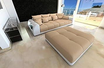 Design wohnlandschaft miami  Bigsofa Miami beige - weiss Megasofa mit LED Beleuchtung: Amazon.de ...