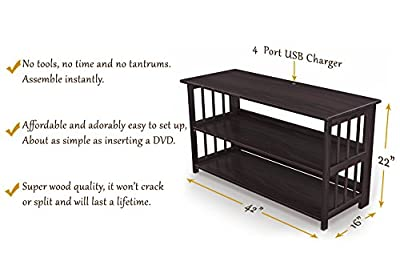 """No Assembly TV Stand & Bookshelf, Media Storage Cabinet & Entertainment Center with USB Port, for Flat Screen TV's In Living Room or Bedroom. Quality Furniture. 42"""" Wide."""