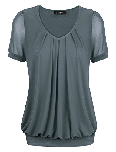 Short Sleeve Shirt Women,Laksmi Women's Simply Elegent Comfortable Tunic Shirts,Large Grey