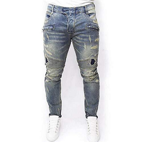 Jeans Blu Strappati blu Con Fuweiencore Dimensione Scuro colore Blu Aderenti Elasticizzati L d1UqBxBX