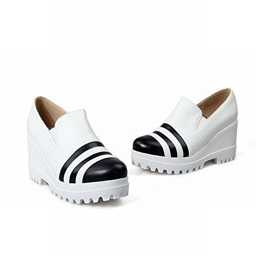 Carolbar Womens Fashion Assorted Colors Platform Wegdge Heel Causal Shoes White ymGqZ3