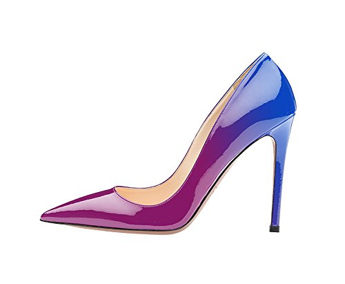 Guoar Womens Stiletto Big Size Shoes Pointed Toe Ladies Solid Pumps for Work Prom Dress Party D-blue Violet v11qage