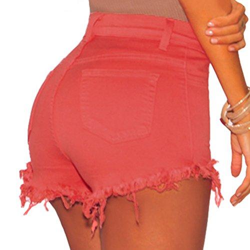 Rosso Eleganti vita alta Pantaloncini Donna Jeans Pantaloncini nwqHCZYfxX