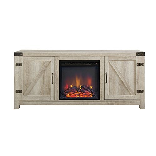 WE Furniture 58 White Oak Fireplace Modern TV Stand Console For Flat Screen TV's Up To 65 Entertainment Center