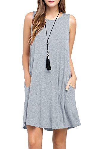TOPONSKY Women's Sleeveless Pockets Casual Swing T-shirt Dresses (XL, Gray)