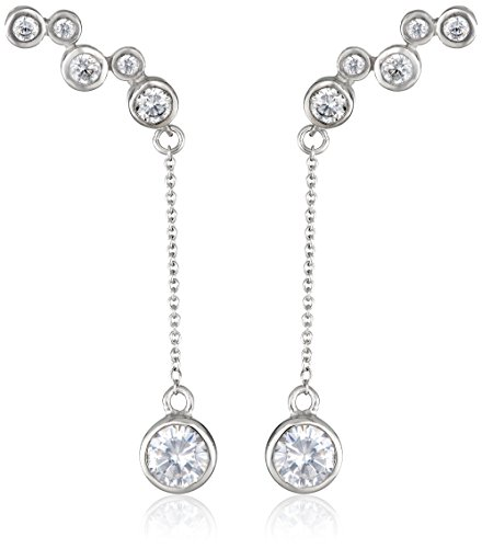 The Ear Pin Silver-Tone and Cubic Zirconia Interchangeable Enhancer Earrings by The Ear Pin