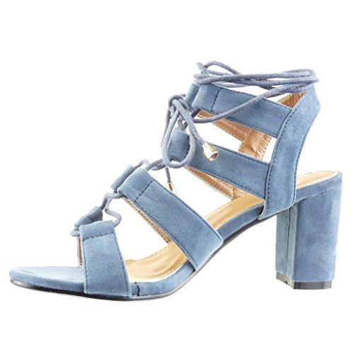 Bloc Sandale Lacets 8 Chaussure Angkorly Mule Bleu Mode Haut Multi Femme Bride cm Lanière Talon wP88gE