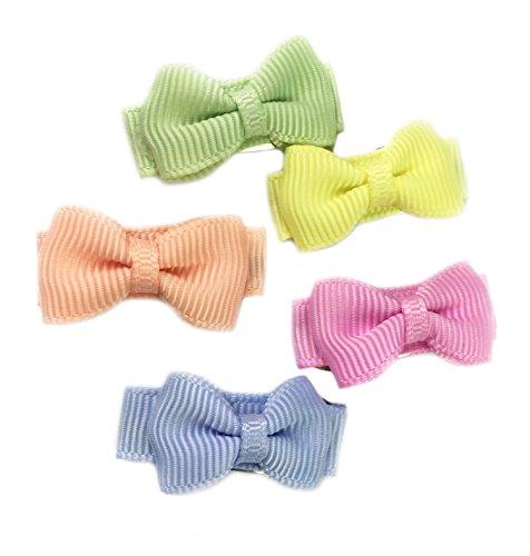 Baby Wisp 5 Tiny Grosgrain Tuxedo Hair Bows Baby Girls Toddler Clips - Flower Fields Gift - Tulip Bell Flower