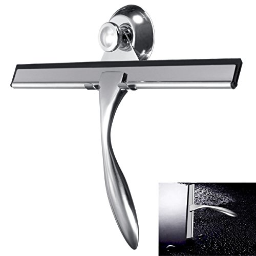 Baban Shower Squeegee Glass Squeegee Window Squeegee All-Purpose Squeegee for Bathroom/ Kitchen/ Car Glass/ Mirror/ Shower Door/ Tile, Stainless Steel Squeegee with Suction Cup Hooks Holder