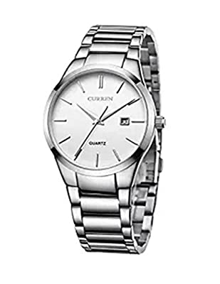 CURREN Men's Watches Auto Date Analog Silver Stainless steel Strap Casual Watch