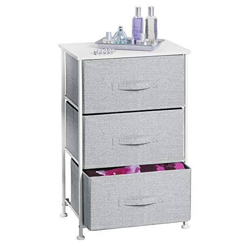 mDesign Vertical Dresser Storage Tower - Sturdy Steel Frame, Wood Top, Easy Pull Fabric Bins - Organizer Unit for Bedroom, Hallway, Entryway, Closets - Textured Print - 3 Drawers - Gray/White (White Wicker 5 Drawer Dresser)