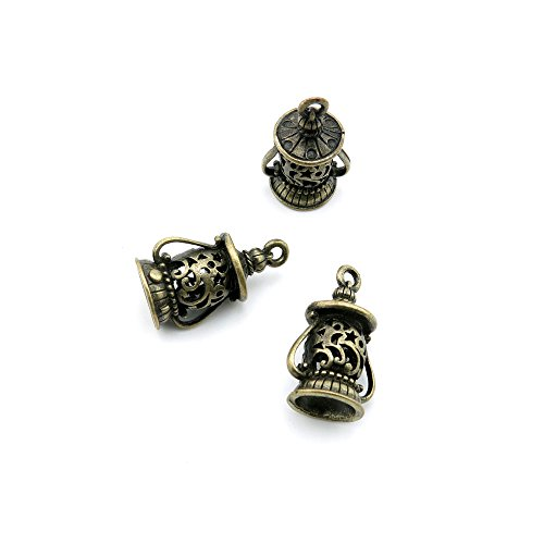 (Price per 10 Pieces Jewelry Making Supply Charms Findings Filigrees G0LC0G Hollow Oil Lamps Antique Bronze Findings Beading Craft Supplies Bulk Lots )