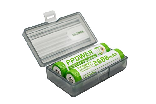 1X Ppower Grey Battery Box, Storage Box, for 2X 18650, 4X cr123, 17500, 17650 Batteries, Battery case (Batteries are not Included) P-Power