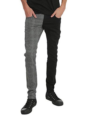 Royal Bones Glen Plaid Split Leg Skinny Jeans Size : 32