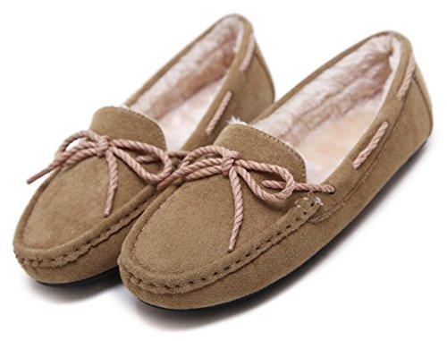 Wear Fall Camel Women's Flat DolphinGirl Shoes Plush Winter x7YwCZU