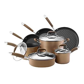 Image of Anolon 82693 Advanced Hard Anodized Nonstick Cookware Pots and Pans Set, 11 Piece, Bronze