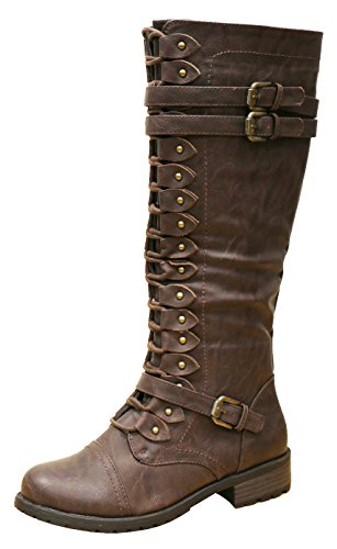 Pu Lace Up Knee Boot (Cambridge Select Women's Strappy Lace-Up Knee High Combat Stacked Heel Boot (8.5 B(M) US, Brown PU))