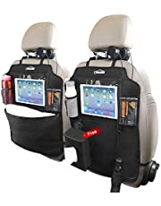 Oasser Kick Mats Car Backseat Protector with Clear 10 inches iPad Holder and 3 Storage Organizers Extra Tissue Storage Bag 2 pack X Large Size Pockets E2