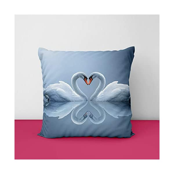 Swans Heart Lovebirds Pair Square Design Printed Cushion Cover