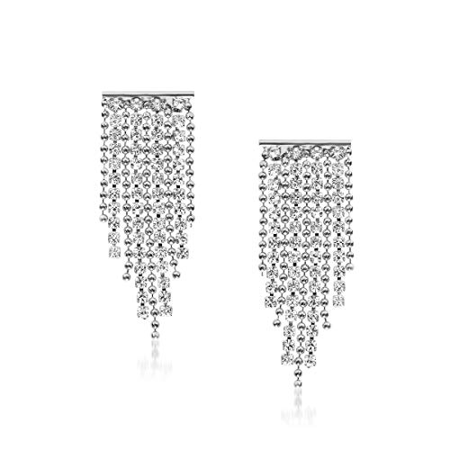 Humble Chic Simulated Diamond Earrings - Darling Waterfall Tassel CZ Statement Chandelier Studs, Silver-Tone Mini Waterfall, Hypoallergenic ()