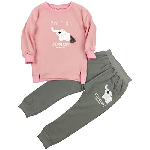 Jastore Baby Girl 2pcs Cute Elephant Clothing Sets Top and Pants Fall Clothes (3T, Pink)