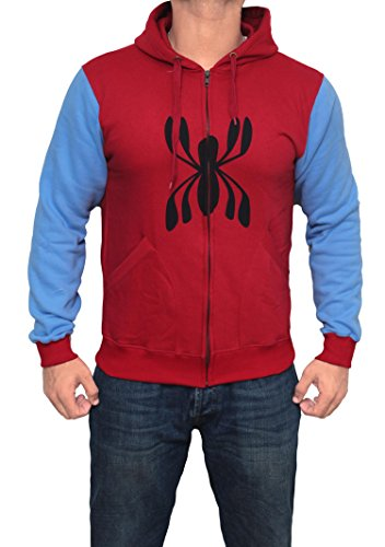 Spider Man Homecoming 2017 Full Sleeves Hoodie - Mens Adult Peter Parker Hoodie by Miracle (X-Small) -