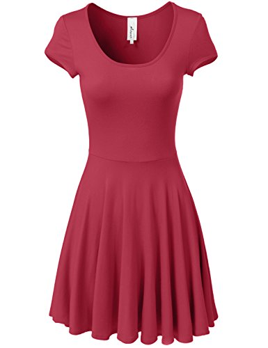 Women Lace Backless Sleeveless Waisted Cocktail Dress Red - 3