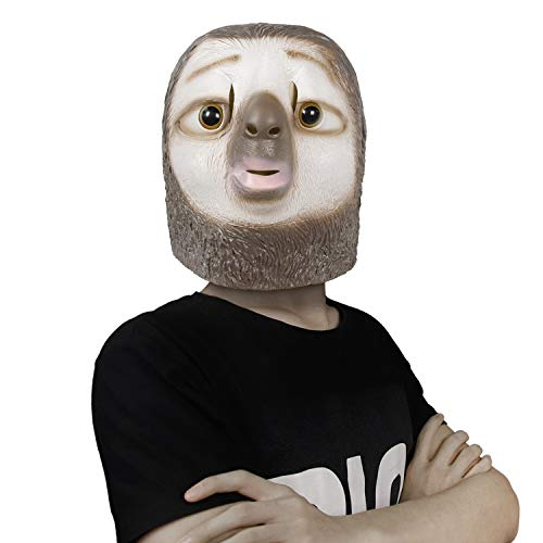 Waylike Novelty Sloth mask Halloween Costume Party Latex Animal Mask for Adult and Children Brown ()