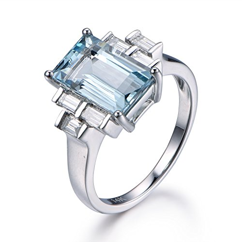 (3ct Natural VVS Aquamarine Engagement Ring,6x11mm emerald Cut Blue Stone,14K White Gold,Vintage Design)
