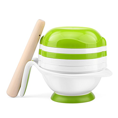 Zooawa Baby Food Masher, 8 in 1 Fresh Food & Fruit Masher Maker Feeder Serve Bowl For Homemade Baby Kids Food, White ()