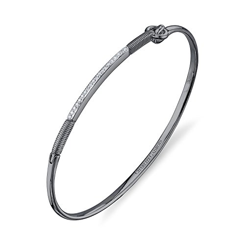 CHARLIZE GADBOIS 925 Sterling Silver Diamond Center Strie Bar Bracelet, (0.10 cttw, G-H Color, I1-I2 Clarity), Gunmetal Nano Coated by Gadbois Jewelry