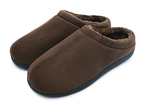 HomyWolf Mens Cotton House Slippers, Warm Soft Indoor/Outdoor Slipper